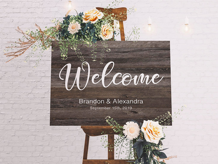 Welcome To Our Wedding Sign On Canvas, Bridal Shower Gift