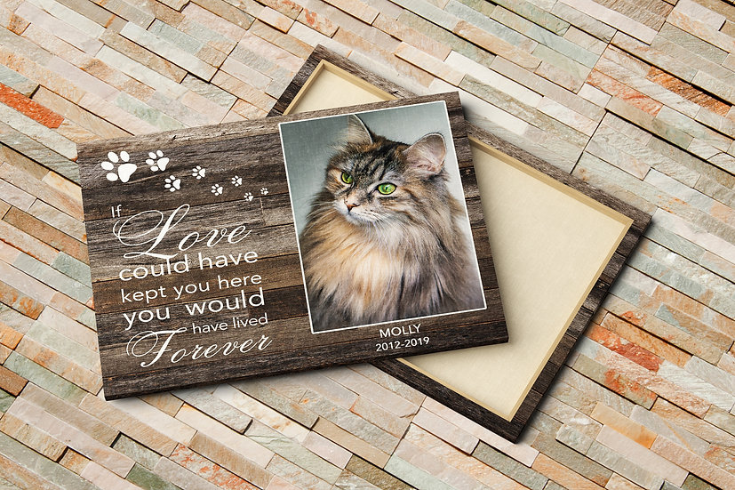 Pet Cat Bereavement Gifts, Cat Memorial Quote and Photo On Canvas