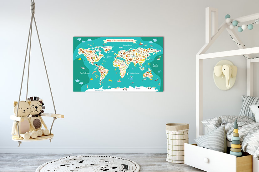 Animal map of the world printed canvas, Kids playroom wall decor
