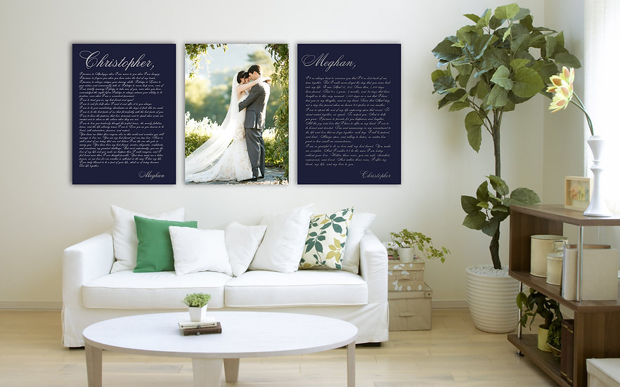 HIS and HER Vows on Canvas - Personalized Wedding Photo