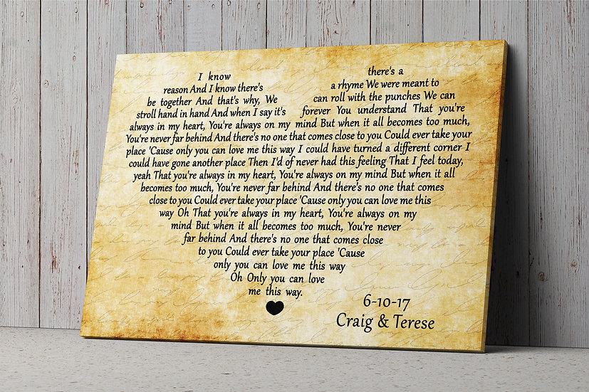 Song Lyrics Wall Art, Wood Anniversary Gift For Him