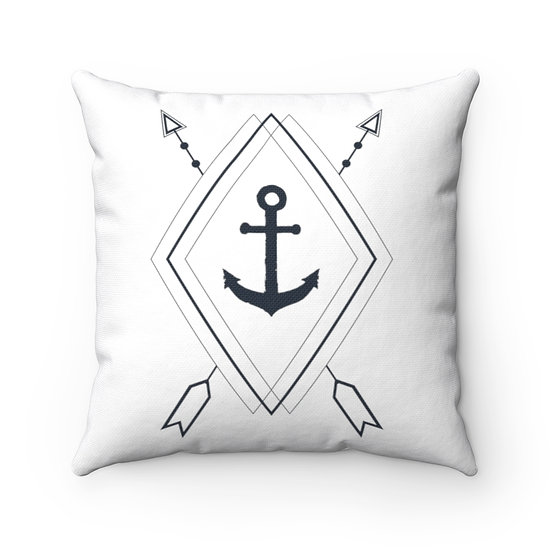 Anchor In Rhombus Shape Spun Polyester Square Pillow