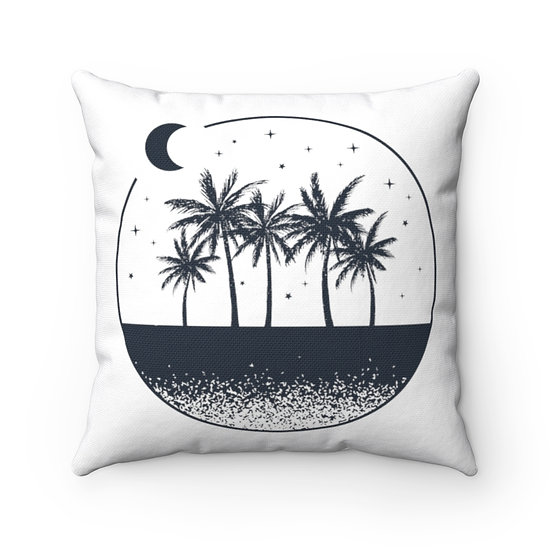 Minimalist Palms and Moon Spun Polyester Square Pillow