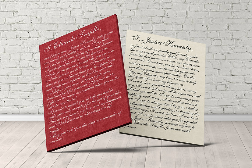 Your Own Wedding Vows Printed On Cotton Canvas