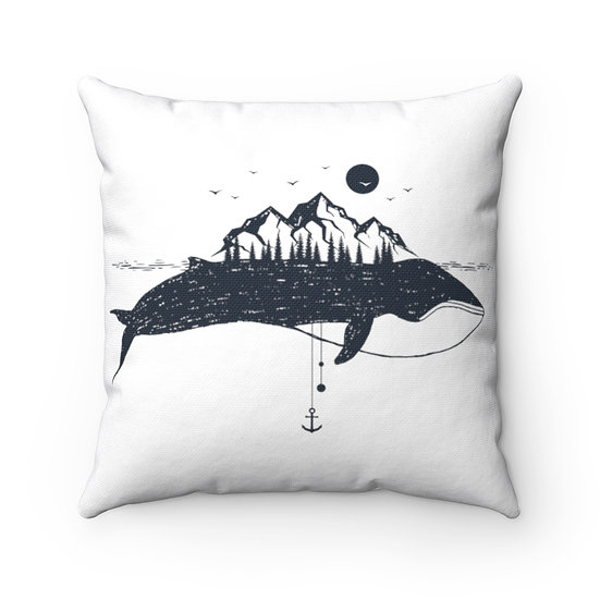 Whale And Mountains Outdoor Spun Polyester Square Pillow