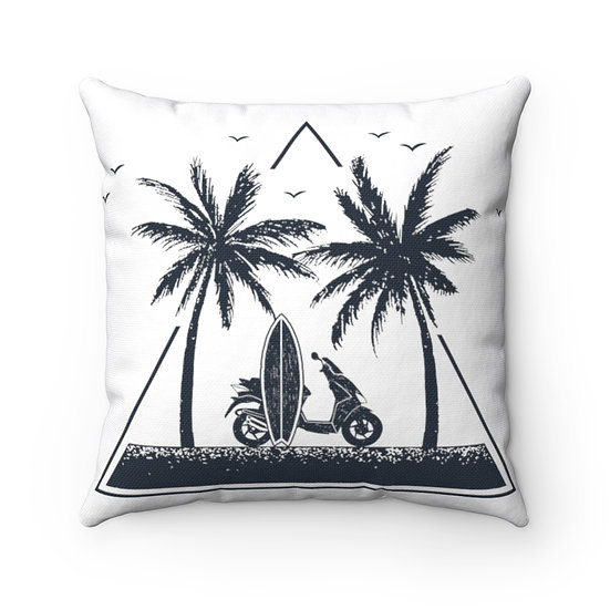 Minimalist Beach, Surf Board, Palms Spun Polyester Square Pillow