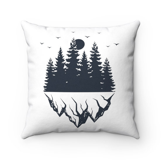 Pine Trees And Mountains Spun Polyester Square Pillow