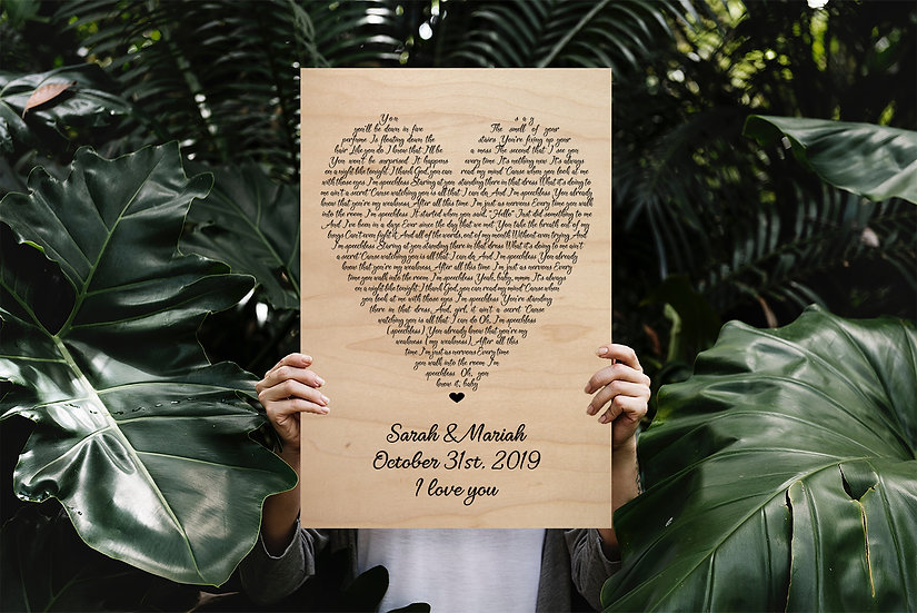 Personalized Wooden Song Lyrics Print, Unique Wedding Gifts