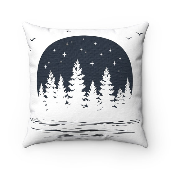 Minimalist Starry Night In The Woods Spun Polyester Square Pillow