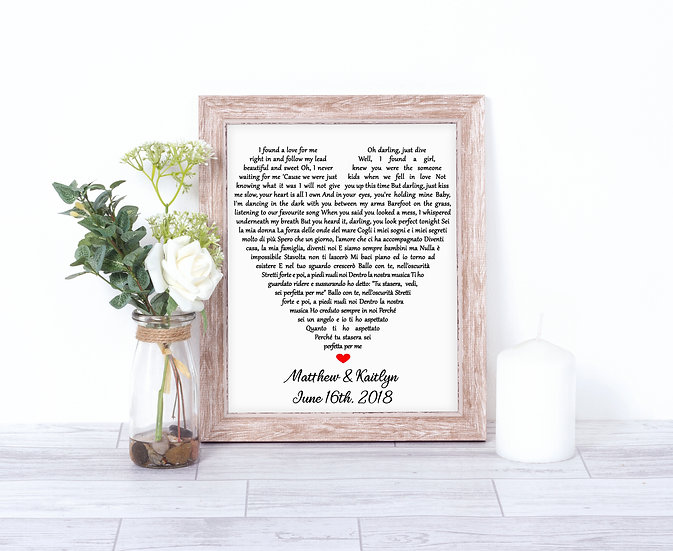 Personalized Framed Wedding Song Lyric Art