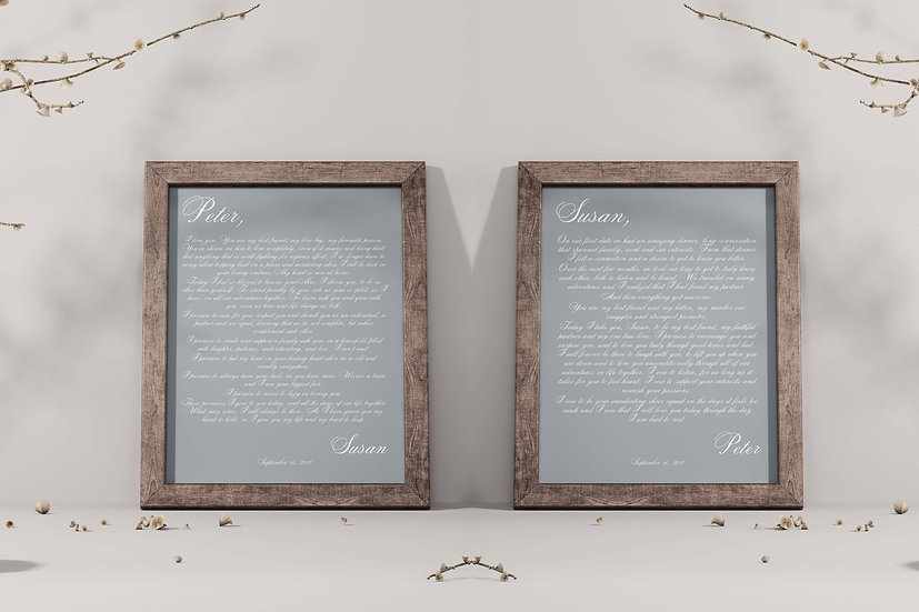 Personalized Wedding Vows Framed Gift For Couple