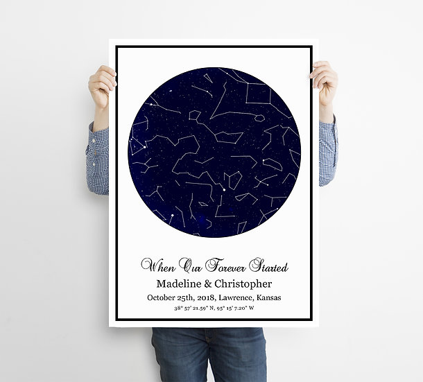 Framed Personalized Sky Star Map