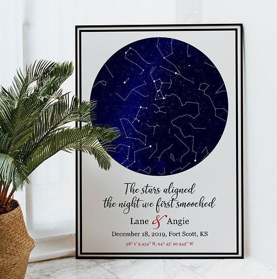 The Night Sky Star Map Gift Personalized For Anyone