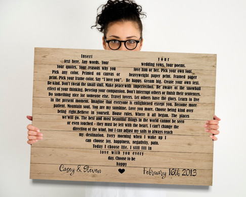 Song Lyrics or Vows into a heart shape printed on wood
