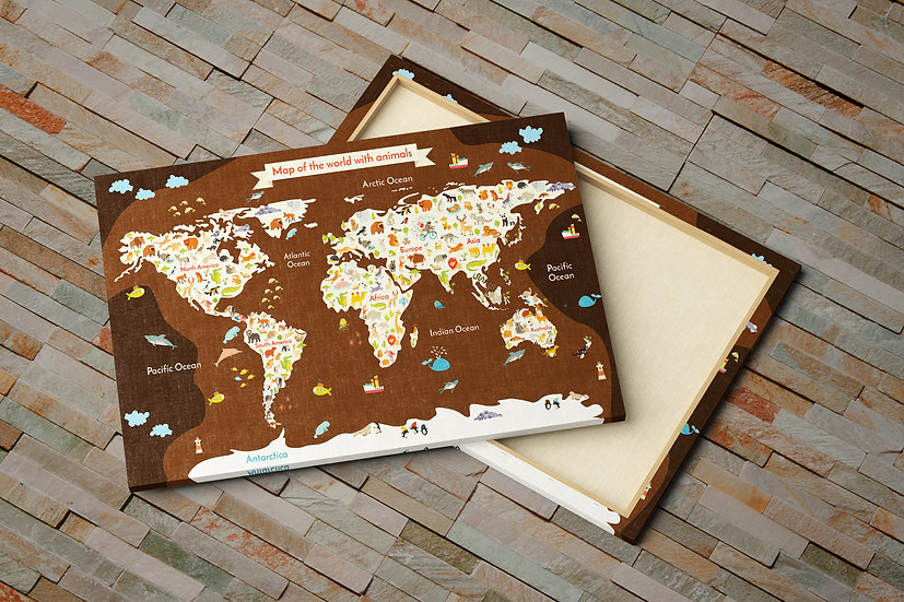 World map with animals canvas print, Playroom wall decor ideas