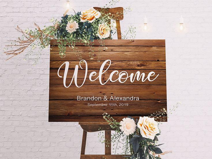 Custom Rustic Wedding Welcome Sign On Canvas