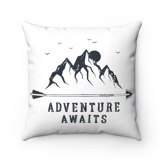 Adventure Awaits Mountains And Arrow Spun Polyester Square Pillow