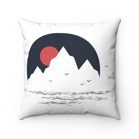 Orange Sunset Behind Mountains Spun Polyester Square Pillow