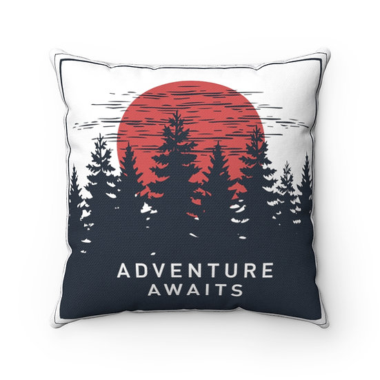 Adventure Awaits Orange Sunrise Spun Polyester Square Pillow