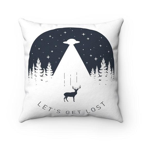 Let's Get Lost Antler Spun Polyester Square Pillow