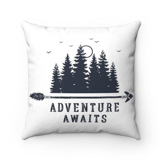 Adventure Awaits Arrow And Trees Spun Polyester Square Pillow