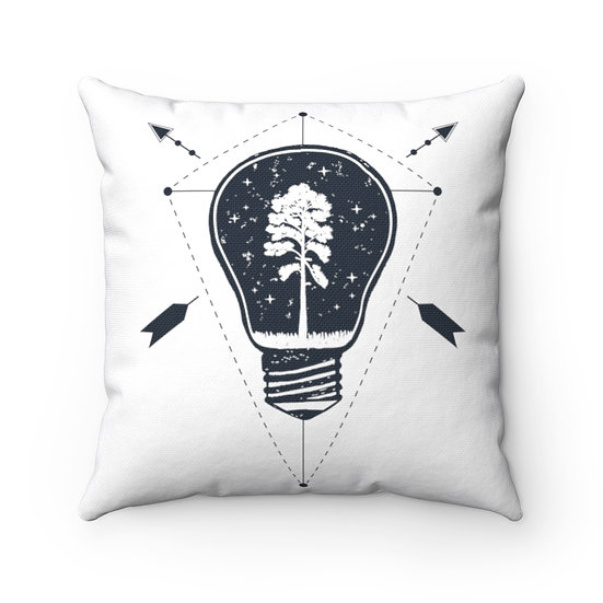Pine Tree In A Light Bulb Spun Polyester Square Pillow