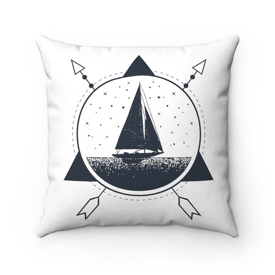 Geometrical Ship On The Sea Spun Polyester Square Pillow