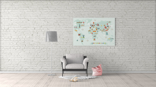 World map art canvas push pin, world map for kids room, push pin map ...