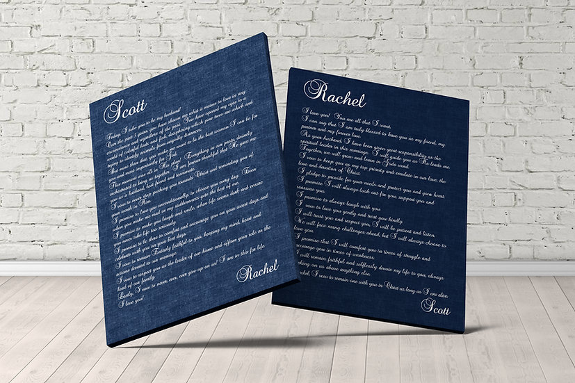 Personalized Wedding Vow Wall Art, Navy Blue
