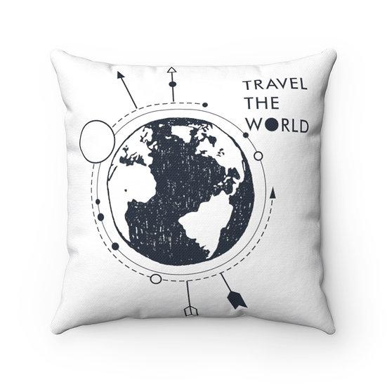 Travel The World Spun Polyester Square Pillow
