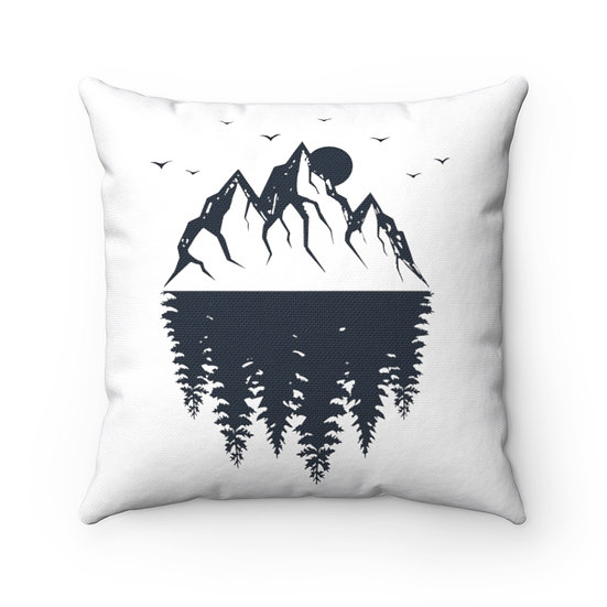 Mountains And Spruce Spun Polyester Square Pillow