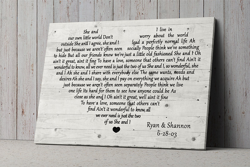 Wedding Song Lyrics On Canvas In A Heart Shape