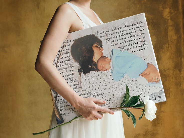 Personalized Gift For Mom, Canvas Photo and Poem