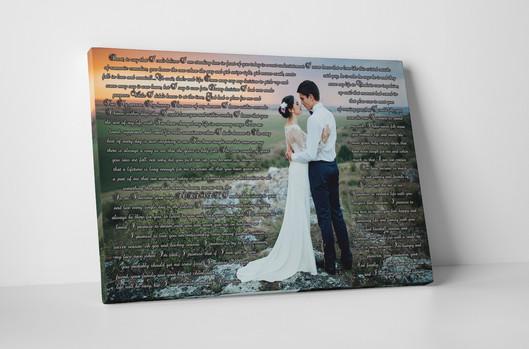 Wedding photo with first dance lyrics