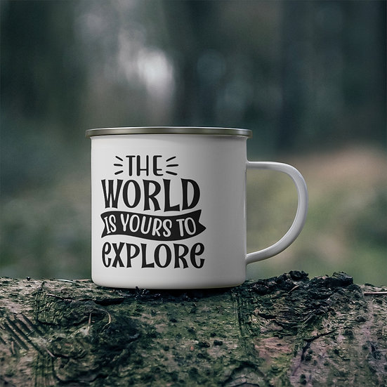 The World Is Yours To Explore Enamel Camping Mug