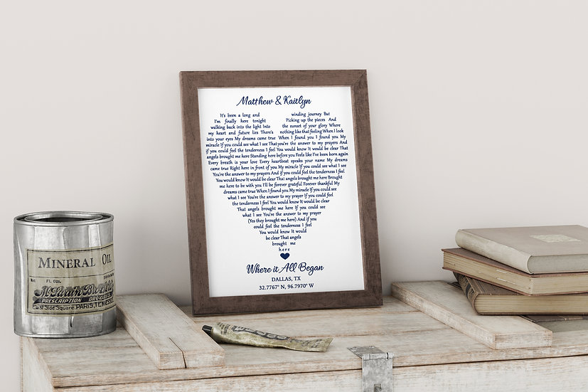 Framed Music Wall Art Print, Unique Personalized Wedding Gift