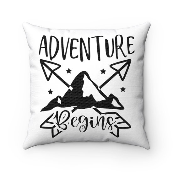Adventure Begins Spun Polyester Square Pillow