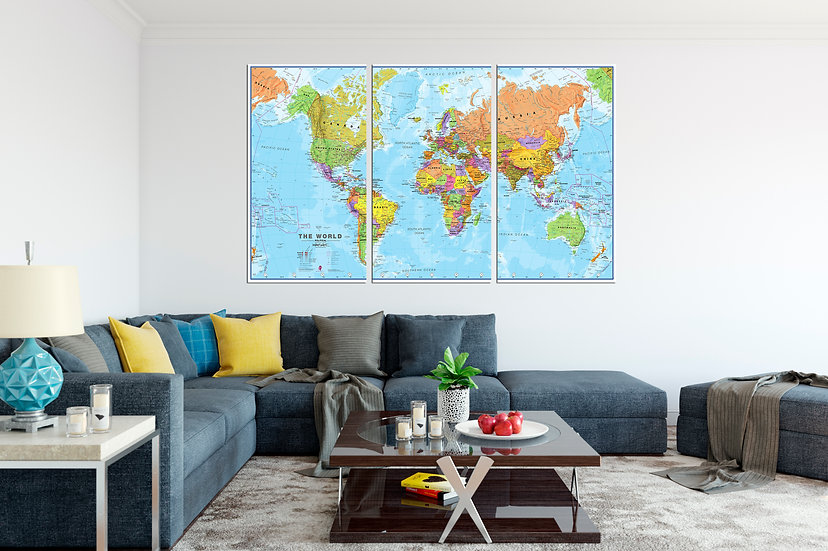 Large World Physical Political Map Canvas Wall Art