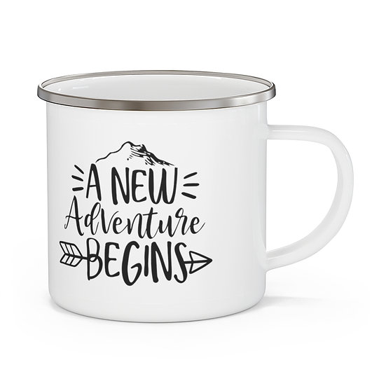 A New Adventure Begins Enamel Camping Mug