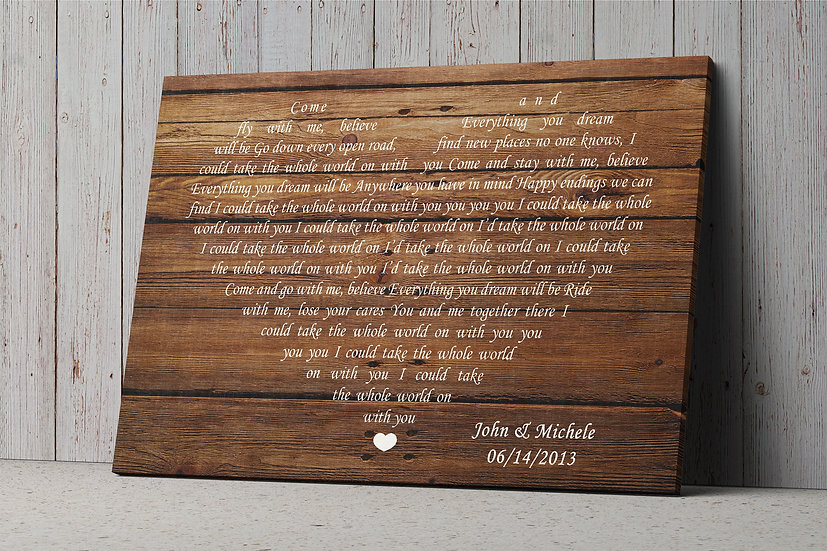 25th Wedding Anniversary Gifts For Parents, Heart Shaped Lyrics