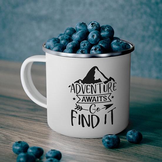 Adventure Awaits Go Find It Enamel Camping Mug