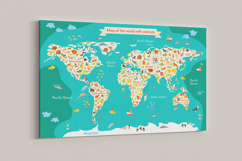 Wall decor for kids playroom, Animal world map canvas print