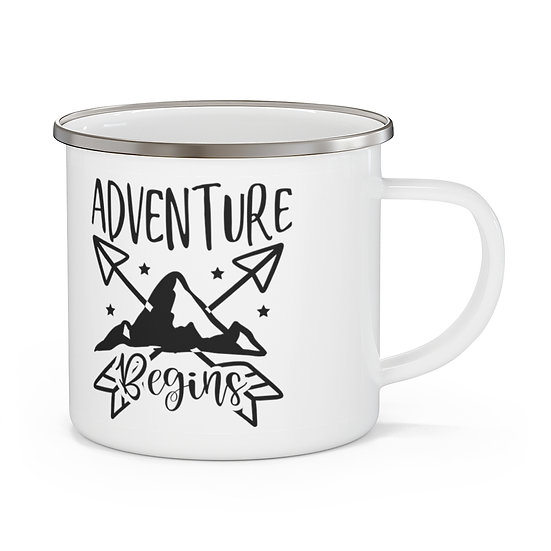 Adventure Begins Enamel Camping Mug