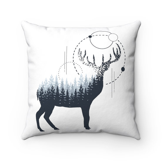 Minimalist Antler Deer With Trees Spun Polyester Square Pillow