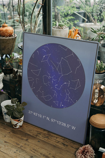 Personalized Star Constellation Map Gift With Coordinates
