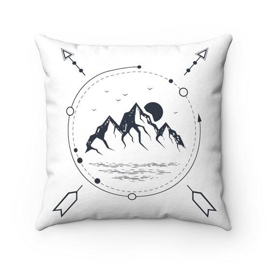Mountains And Sea Spun Polyester Square Pillow