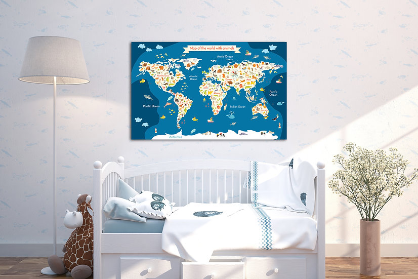 Animals world map canvas print wall art for nursery