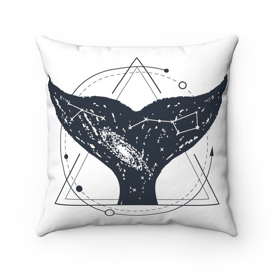 Triangle Whale Tail Constellation Spun Polyester Square Pillow