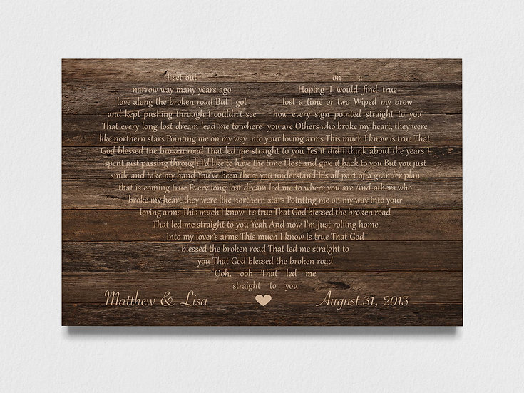 Wood Anniversary Gift For Him, Custom First Dance Lyrics