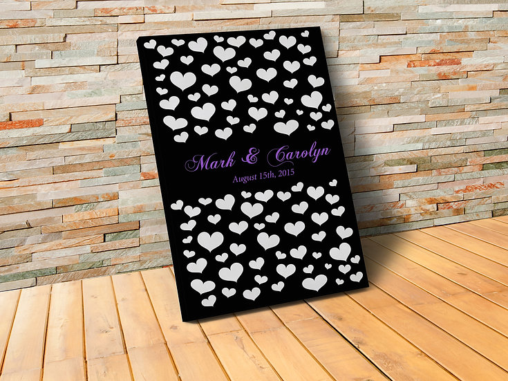 Custom Wedding Canvas Guest Book, Your Own Size, Color and Shapes